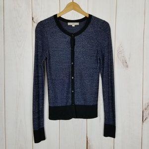 Ann Taylor LOFT Blue Silver Sweater Cardigan